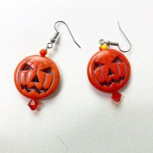 Halloween Jack O Lantern Pumpkin Orange Earrings